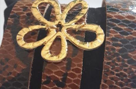 צמיד מעור אמיתי עם הדפס נמר