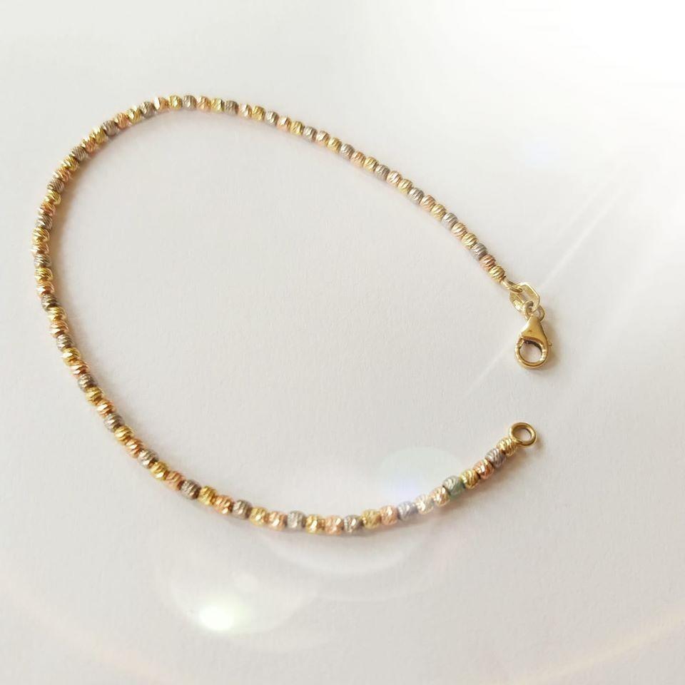 צמיד זהב כדורי לייזר